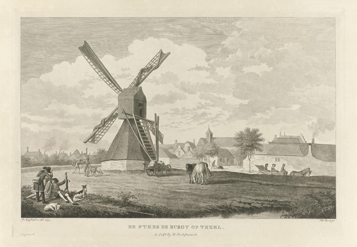 Theodorus de Roode, Gezicht op Den Burg op Texel, 1789-1800 (Rijksmuseum, Amsterdam).