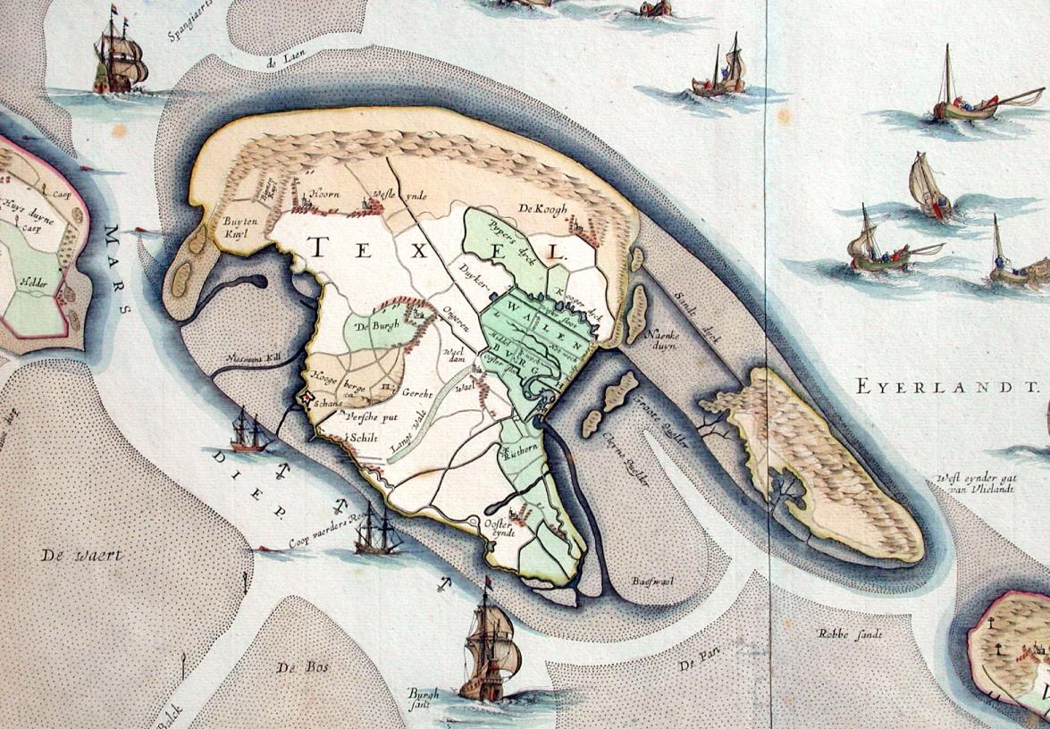 Onbekend, uitsnede van kaart van Texel, Vlieland, Griend en Friesland, ca. 1680 (Museum Kaap Skil, Oudeschild).