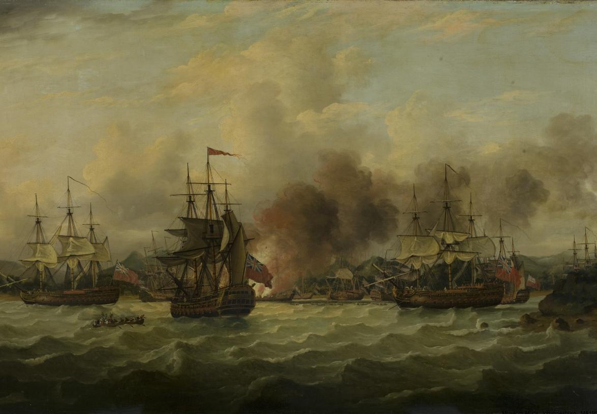 Thomas Luny, Overname van de VOC-vloot in de Saldanhabaai, circa 1781 (Museum Africa, Johannesburg, Zuid-Afrika).