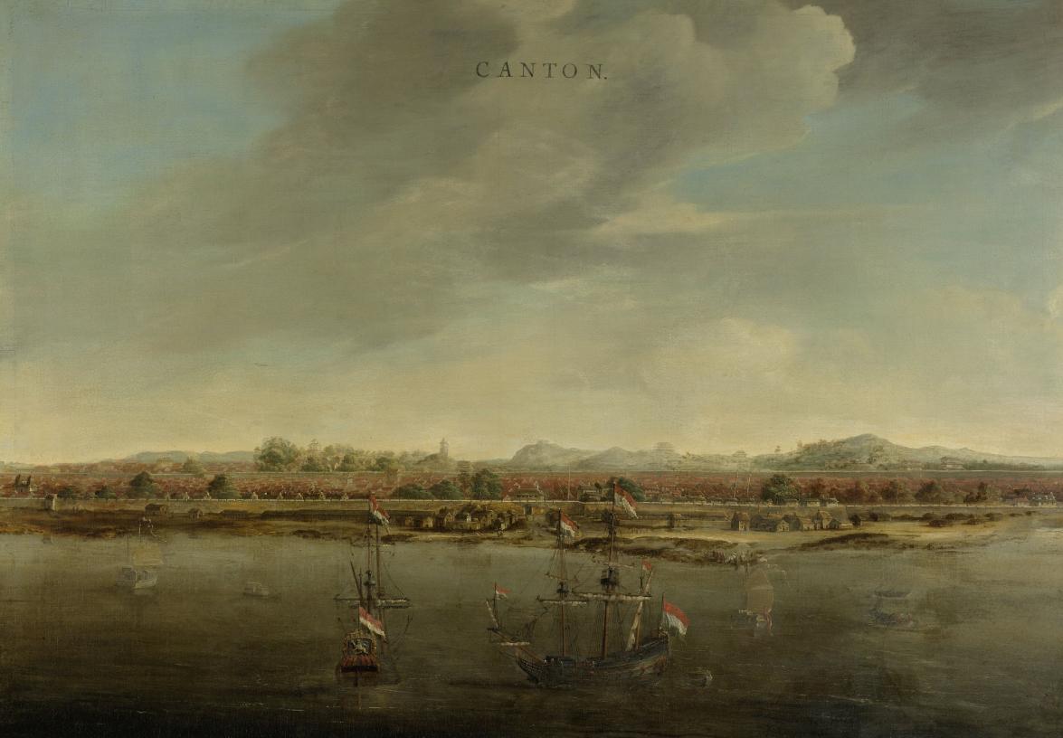 Johannes Vinckboons, Gezicht op Kanton in China, circa 1662-1663 (Rijksmuseum, Amsterdam).